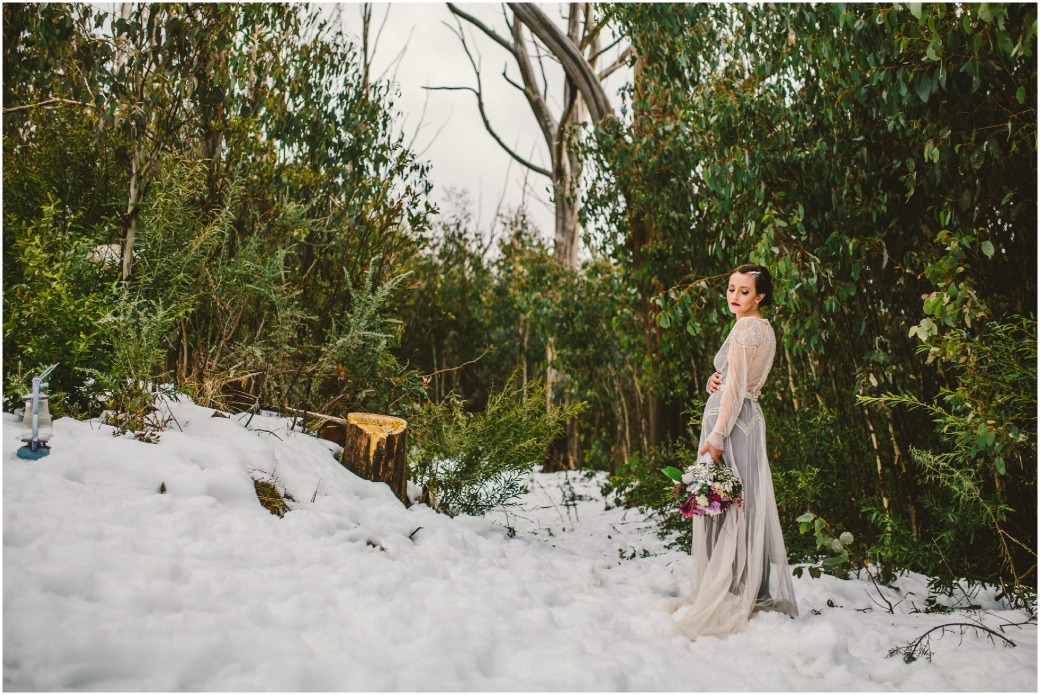 hotography Gwendolynne gowns bridal shoot snow Melbourne wedding photographer styled shoot10