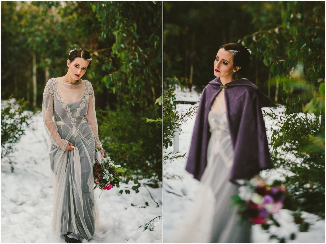 hotography Gwendolynne gowns bridal shoot snow Melbourne wedding photographer styled shoot11