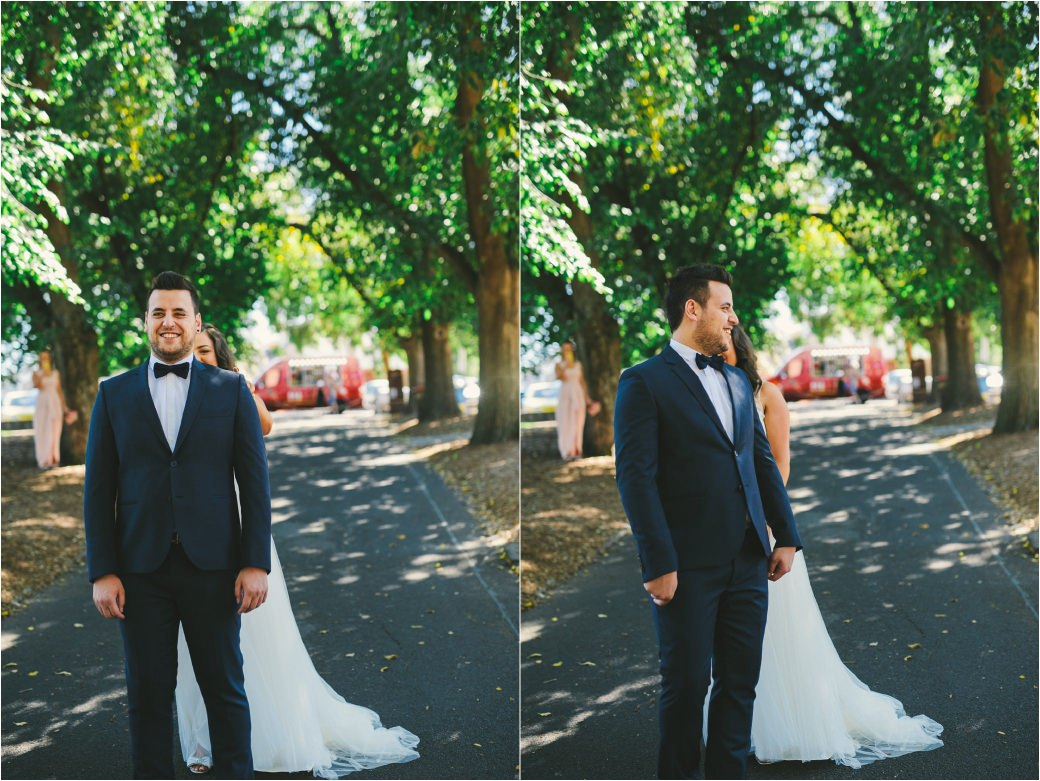 wedding photography Post office hotel Coburg lake first look alleyway Melbourne 17
