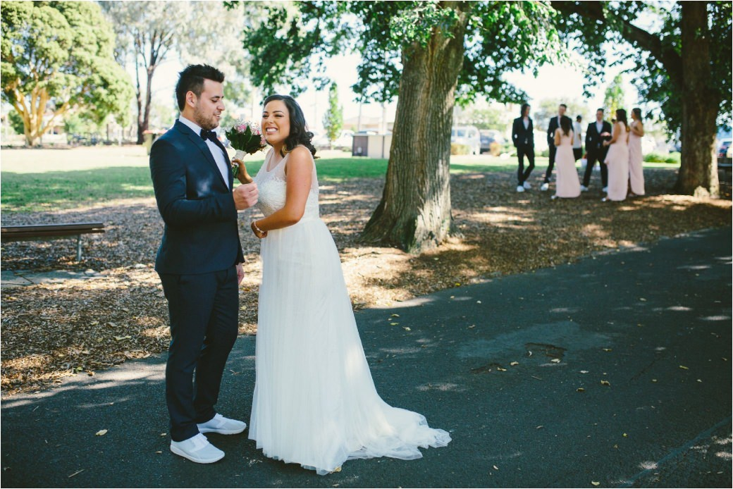 wedding photography Post office hotel Coburg lake first look alleyway Melbourne 19