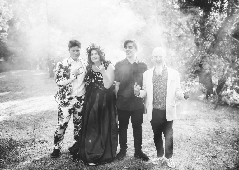 wedding photography rock n roll alternative portraits smoke bomb Hyggelig Photography