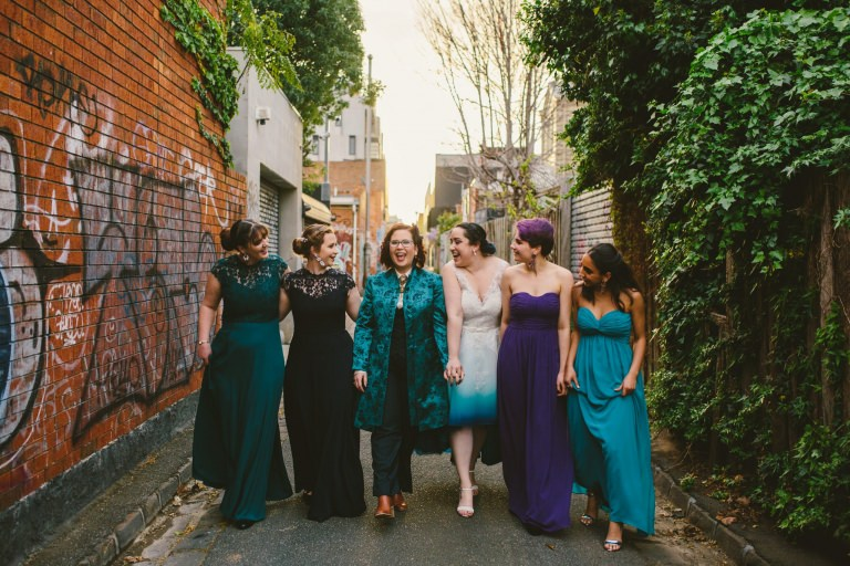girl gang Melbourne alleway love is love same sex wedding Melbourne wedding photographer Hyggelig Photography